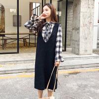 连衣裙 女士过膝中长款毛衣裙子套装2020秋冬新款学生韩版时尚女式长裙女装衬衣裙