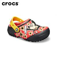 Crocs卡骆驰儿童趣味米奇男女童加绒包跟平底防滑棉拖鞋|205953趣味学院米奇图案暖棉小克骆格