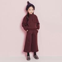女童冬季加绒套装韩版时尚中大童不倒绒加厚卫衣九分阔腿裤两件套