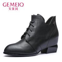 【到手109】戈美其2016冬季新款女靴短靴尖头粗跟系带时尚欧美马丁靴1615069