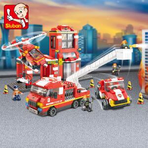 【当当自营】小鲁班急速火警系列儿童益智拼装积木玩具 火警总动员M38-B0227
