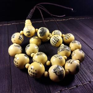 菩提果手工雕刻十八罗汉佛珠