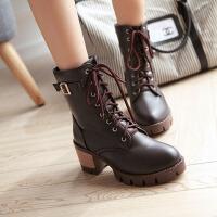 彼艾2017秋冬新款马丁靴女粗跟短靴系带高跟单靴皮带扣短筒靴女靴子