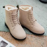 雪地靴女马丁短靴短筒平底棉鞋学生女鞋女靴子棉靴