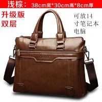 精品男包商务包男士包包横款手提包单肩包男公文包包电脑包斜挎包 升级版浅棕 单包