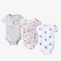 短袖包屁衣婴儿夏季三角哈衣薄款初生儿宝宝连体衣
