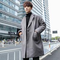 风衣男韩版秋冬新品中长款毛呢大衣修身帅气潮流呢子外套