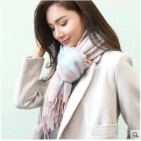 仿羊绒围巾女士潮流厚保暖韩版流苏围巾大格子披肩两用
