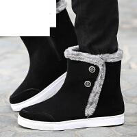 潮牌雪地靴男皮毛一体加绒冬靴加厚保暖短靴平底防滑情侣靴女棉鞋子