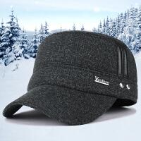 帽子男士平顶帽秋冬季户外保暖护耳帽中老年加厚毛呢帽休闲棒球帽