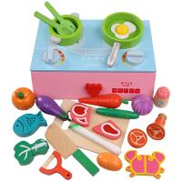 做饭切菜儿童过家家厨房玩具切水果木制磁性切切乐仿真厨具