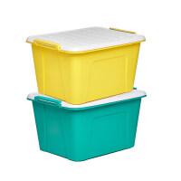塑料收纳箱衣服大号有盖储物箱衣物玩具收纳盒整理箱 2个装