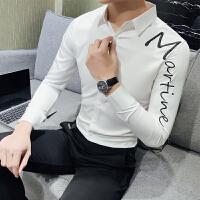 2018春装潮流男士长袖衬衫韩版字母刺绣衬衣男修身百搭帅气上衣服