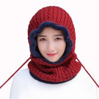 帽子女秋冬季包头帽保暖套头女针织毛线帽护耳围脖一体骑车防风帽新品 均码有弹性