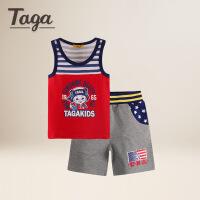 【满200减100】TAGA童装 2017夏装男童套装中大童短袖T恤两件套儿童POLO衫