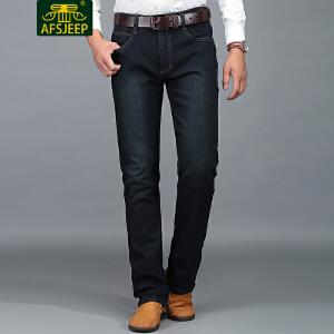 战地吉普(AFS JEEP)2017冬装新款男牛仔裤 加绒加厚保暖直筒宽松休闲男士牛仔长裤LZ669