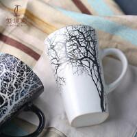陶瓷杯子带盖勺马克杯大容量情侣杯一对星巴克风ins咖啡杯定制杯