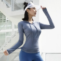 连帽运动卫衣女健身上衣跑步长袖T恤收腰显瘦紧身瑜伽服网红秋