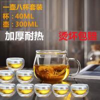 300ml壶+8只品茗杯泡茶杯耐热玻璃茶具带盖过滤透明办公水杯花茶杯耐高温圆趣三件杯