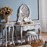 欧式梳妆台实木妆凳简约曲面化妆桌子烤漆高端卧室具4 组装
