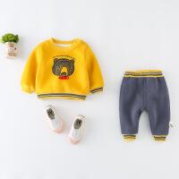 儿童装男童加绒加厚卫衣套装小孩衣服两件套春装小童婴儿宝宝冬装