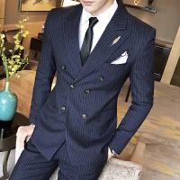 商务男士免烫条纹西服套装修身双排扣西装马甲西裤三件套青年礼服