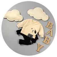 男女宝宝春装0-1岁婴儿长袖T恤纯棉儿童打底衫春秋圆领上衣3个月6