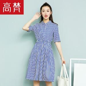 【1件3折 到手价:139元】高梵连衣裙女新款韩版显瘦条纹裙子夏季新款女潮学生衬衫裙