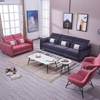 新款意式轻奢沙发现代极简客厅沙发组合北欧小户型三人位布艺沙发 1+2+4++