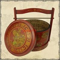 仿古食盒喜事礼金盒酒店加餐盒中式复古饭盒提篮木质摄影道具