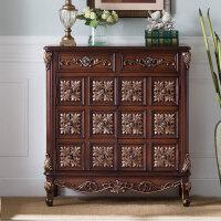 欧式鞋柜实木美式进门玄关柜子储物餐边柜复古彩绘两门三门装饰柜 整装