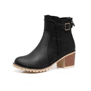 ELEISE美国艾蕾莎新品秋冬175-Q46英伦超纤皮中跟粗跟女士马丁靴短靴