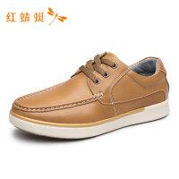 红蜻蜓男鞋春夏新款休闲皮鞋系带装饰套脚舒适百搭时尚男休闲皮鞋