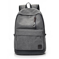 男包双肩包帆布旅行包大容量韩版休闲男士背包包初高中大学生书包 灰色 F016