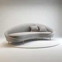 北欧弧形绒布三人沙发简约现代别墅设计师不锈钢创意个性异形沙发 可选色