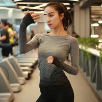 �\��r尚上衣女�L袖�u��@瘦速干健身T恤瑜伽服修身跑步��上衣