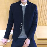 新款男夹克 男 外套男韩版立领呢料短夹克