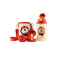 【限时秒杀】杯具熊(BEDDYBEAR)十二星座系列儿童保温杯带吸管316不锈钢保温壶三盖580ml 3D版-狮子座