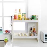 双庆厨房置物架调味架双层置物架 1060双层多功能厨卫置物架层架角落架塑料收纳架