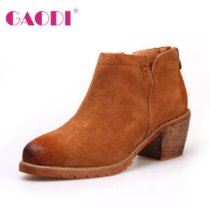 高蒂冬季新款女靴子英伦复古中粗跟短筒圆头切尔西靴裸靴磨砂皮靴