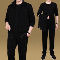 大码男士外套跑步休闲运动服套装男三件套中老年运动套装男