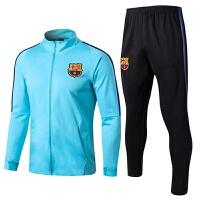 新款17-18巴萨足球训练服球衣巴塞罗那春秋季长袖卫衣出场服套装 N98夹克 天蓝套装