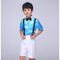 六一儿童演出服幼儿园背带裤男孩短款婚纱花童礼服钢琴主持人服装