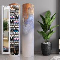 创意度旋转鞋柜欧式美式门口鞋架圆形圆柱家用收纳大容量柜子 整装