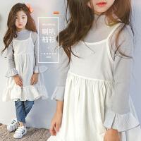 女童长袖打底衫2017新款秋装韩版中大儿童纯棉喇叭袖T恤宝宝上衣