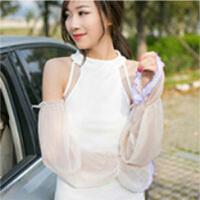 夏季雪纺蕾丝素色防晒袖套手套 简约长款遮阳防紫外线 雪牙