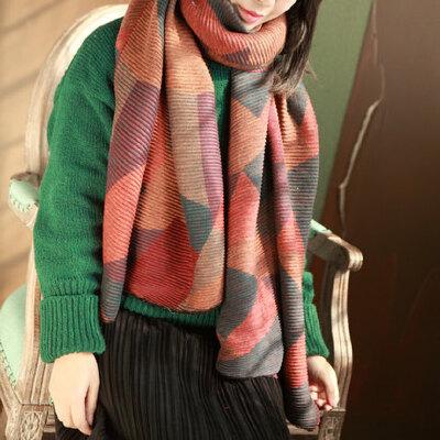 拼色几何图案双面加长两用披肩围脖保暖围巾仿羊绒围巾女 品质保证 售后无忧