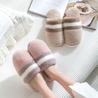 时尚棉拖鞋女家居家用室内秋冬季保暖厚底防滑男可爱毛绒情侣绵拖鞋