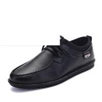 休闲皮鞋男 夏秋季新款舒适男鞋透气休闲鞋青年圆头男士皮鞋英伦皮鞋板鞋男士系带小皮鞋