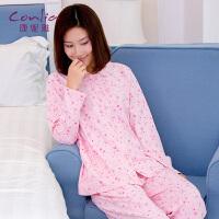 康妮雅睡衣女士秋季薄款长袖宽松休闲舒适甜美可爱家居服套装